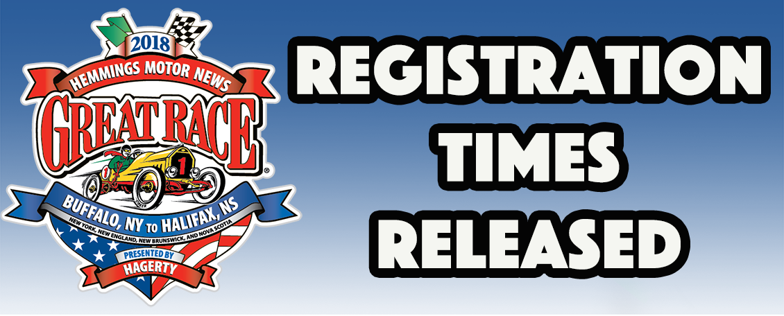 Great Race Registration Times Released