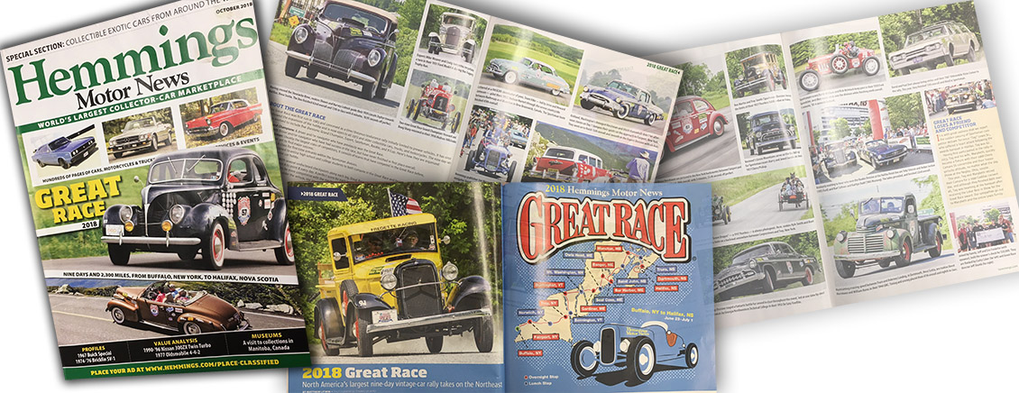 Great Race Coverage in the October 2018 Hemmings Motor News