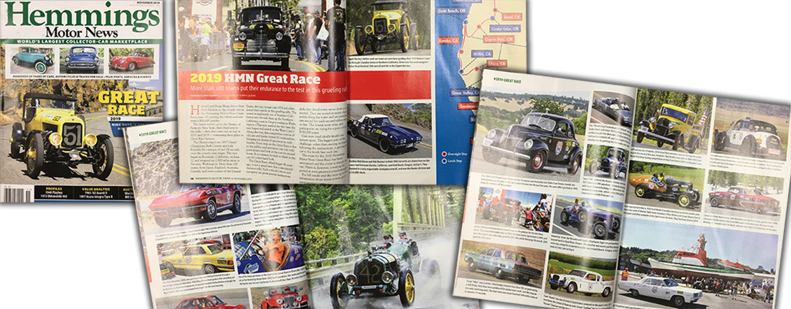 Great Race Coverage in November 2019 issue of Hemmings!